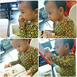 anak bayik ini sibuk siap-siap sendiri, mulai dari lap tangan, lap mulut sampe pilih menu lalu teriak-teriak (mungkin maksudnya ngasitau menu yang dia pilih)